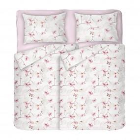 Красиво и Качествено Спално Бельо на пеперуди и цветя МАРИ 2, Двоен размер за спалня с два плика, Качество Ранфорс