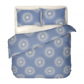 Двоен комплект спално бельо в синьо - КАЗА 2, на кръгли фигури в екрю, високо качество на материята, 100% памук