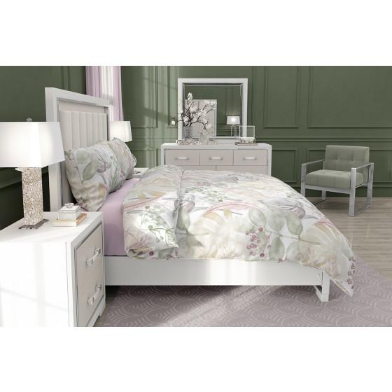 Качествено спално Бельо от Ранфорс Роузмари, В Двоен Размер с Един Плик, Флорални Мотиви в Пастелни Цветове