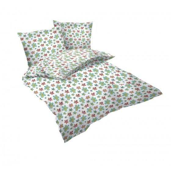 детско спално бельо за спалня, с два плика - МАША 2, Бял десен на цветчета, 100% памук Ранфорс